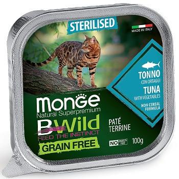 Monge BWild Sterilised консервы для кошек с тунцом и овощами