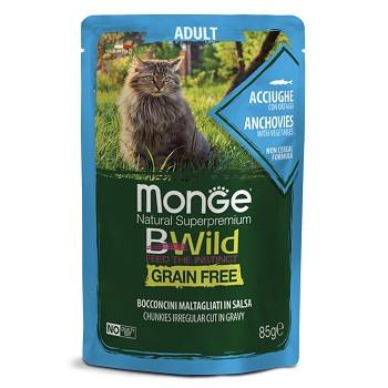 Monge BWild Adult пауч для кошек с анчоусами и овощами