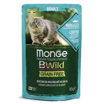 Monge BWild Adult пауч для кошек с треской и овощами