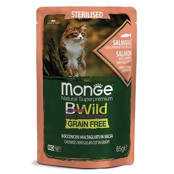 Monge BWild Sterilised пауч для кошек с лососем и овощами