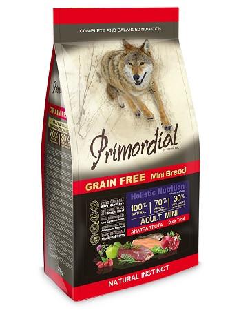 Primordial GF Adult Mini беззерновой сухой корм для собак мелких пород с уткой и форелью