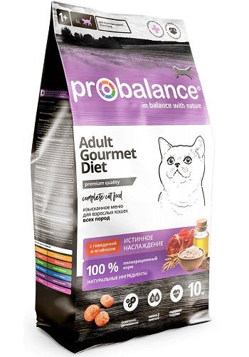 ProBalance Gourmet Diet сухой корм для взрослых кошек с говядиной и ягненком