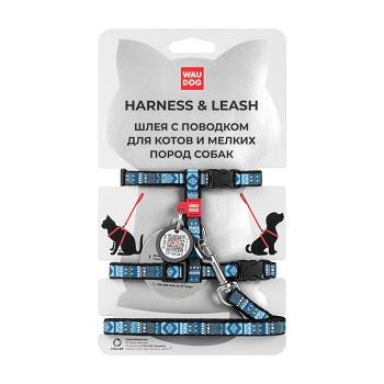 Waudog Nylon шлея с поводком и QR-паспортом Этно синий (XS, 10 мм)
