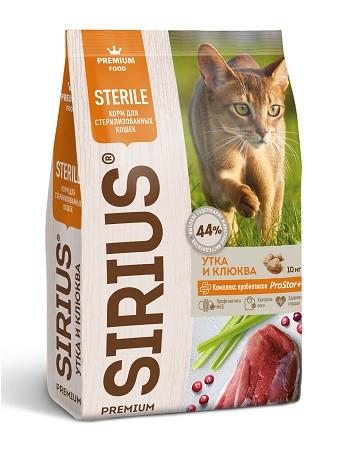 Sirius сухой корм для стерилизованных кошек Утка с клюквой