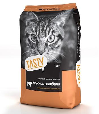 Tasty сухой корм для кошек с говядиной