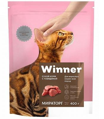 Winner сухой корм для взрослых кошек с говядиной