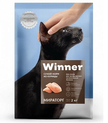 Winner сухой корм для взрослых кошек при МКБ с курицей